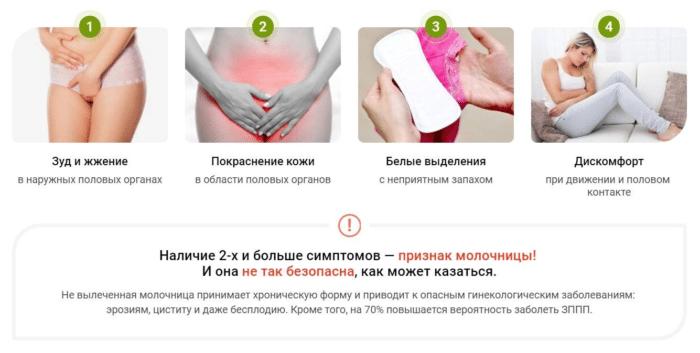 первые признаки молочницы